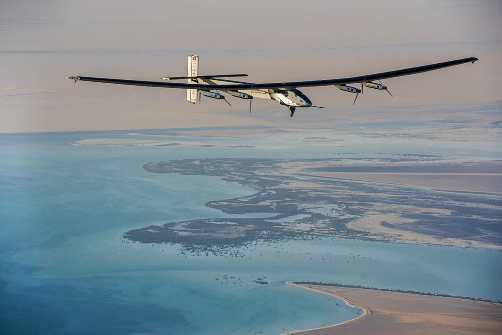 Abu Dhabi, UAE, March 1st 2015: Solar Impulse 2 succesfully accomplished the first test flight since the reassembly with the test pilot Markus Scherdel at the controls. Solar Impulse, the only airplane of perpetual endurance, able to fly day and night without a drop of fuel, powered only by the sun's rays, will attempt the First Round-The-World Solar Flight in 2015. Swiss founders and pilots, Bertrand Piccard and André Borschberg, hope to demonstrate how pioneering spirit, innovation and clean technologies can change the world. Departure is scheduled for early March from Abu Dhabi. The duo will take turns flying Solar Impulse 2, changing at each stop and will fly in order, over the Arabian Sea, to India, to Myanmar, to China, across the Pacific Ocean, to the United States, over the Atlantic Ocean and to Southern Europe or Northern Africa before finfishing the journey by returning to the initial point of departure point. Landings will be made every few days to switch pilots and organize public events for governments, schools and universities.