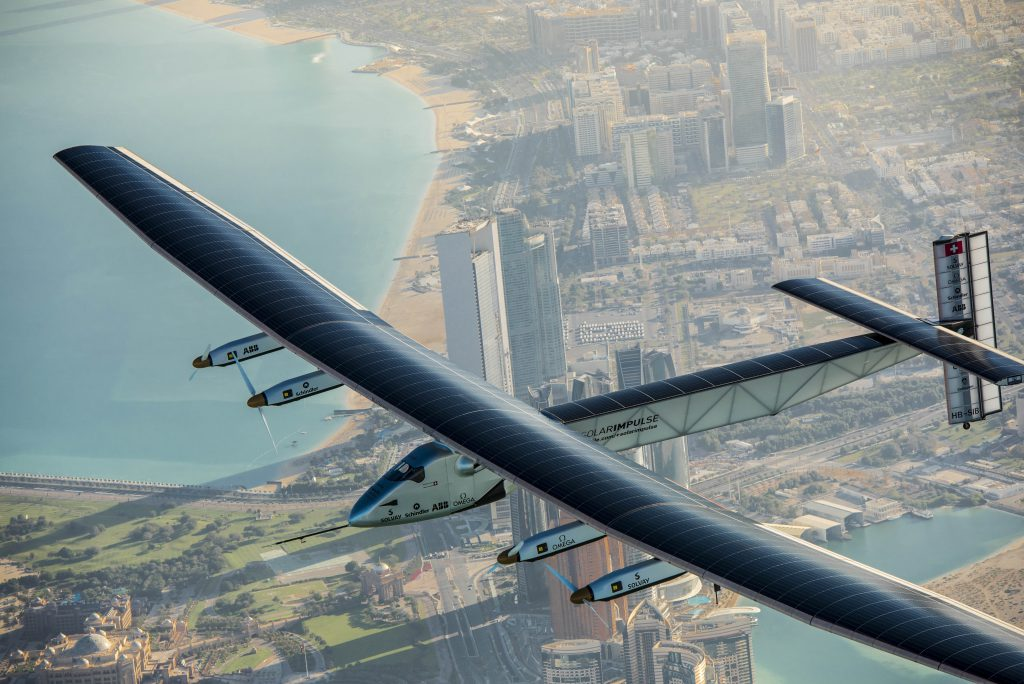 Abu Dhabi, UAE, March 1rst 2015: Solar Impulse 2, the only solar single-seater airplane able to fly day and night without a drop of fuel, is flying over Abu Dhabi (UAE) undertaking preparation flights for the first ever Round-The-World Solar Flight which will be attempted starting early March from Abu Dhabi. Swiss founders and pilots, Bertrand Piccard and AndrÈ Borschberg, hope to demonstrate how pioneering spirit, innovation and clean technologies can change the world. The duo will take turns flying Solar Impulse 2, changing at each stop and will fly over the Arabian Sea, to India, to Myanmar, to China, across the Pacific Ocean, to the United States, over the Atlantic Ocean to Southern Europe or Northern Africa before finishing the journey by returning to the initial departure point. Landings will be made every few days to switch pilots and organize public events for governments, schools and universities.